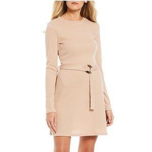 NWT {Midnight Doll} Camel Rib Knit Belted Dress